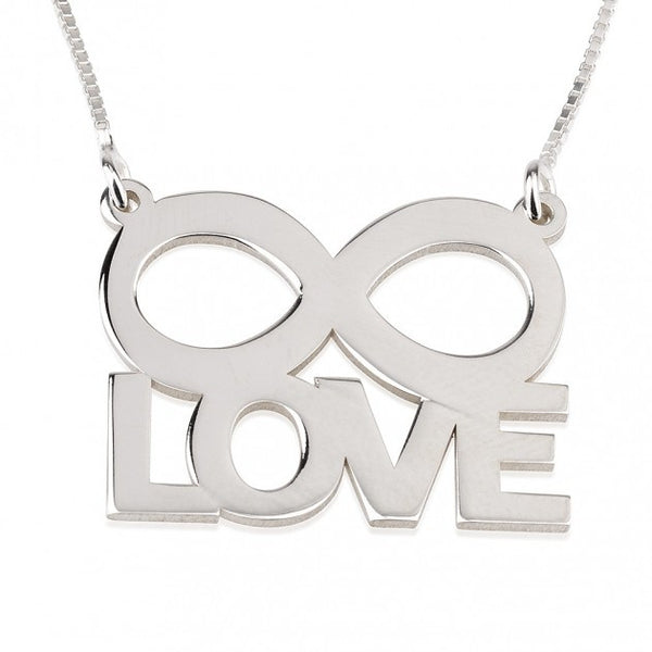 Sterling Silver LOVE Infinity Necklace - jeweleen - 1