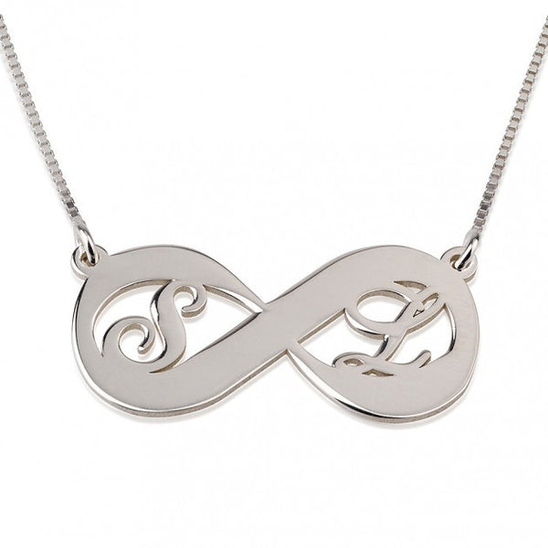 Sterling Silver Two Letters Infinity Necklace - jeweleen - 1
