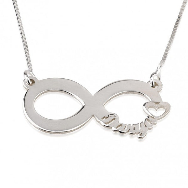 Sterling Silver Cut Out Name Infinity Necklace - jeweleen - 1