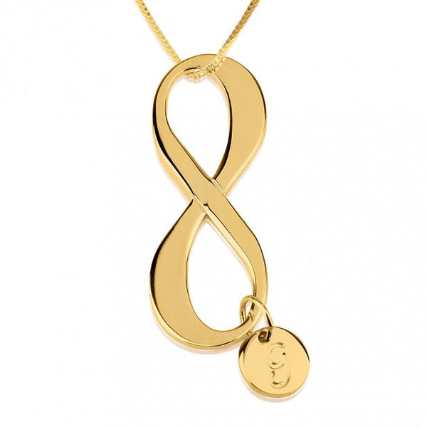 24K Gold Plated Initial Infinity Necklace - jeweleen - 1