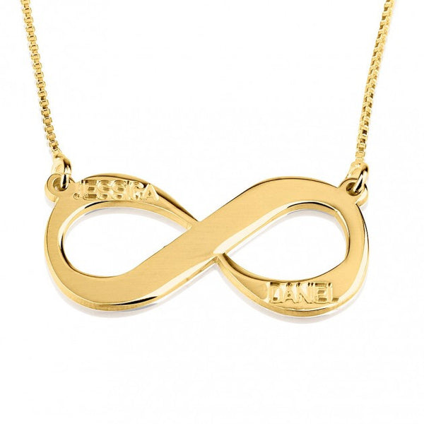 24K Gold Plated Two Names Infinity Necklace - jeweleen - 1
