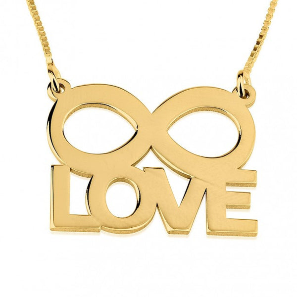 24K Gold Plated LOVE Infinity Necklace - jeweleen - 1