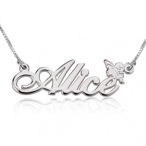 Alegro Name Necklace with Angel - jeweleen - 1