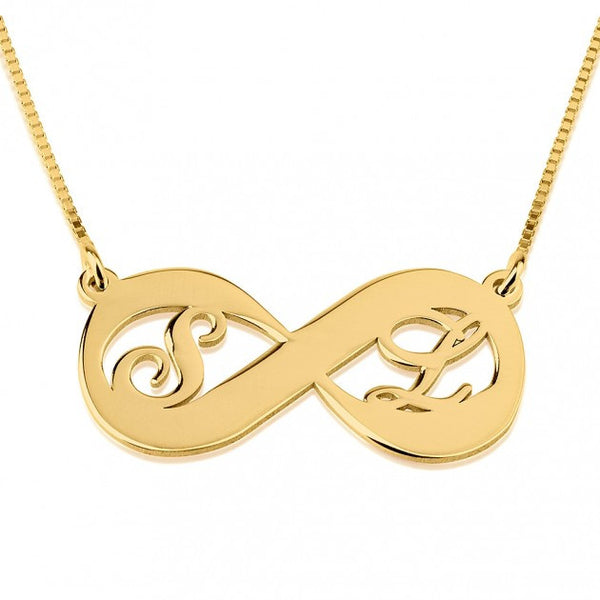 24K Gold Plated Two Letters Infinity Necklace - jeweleen - 1