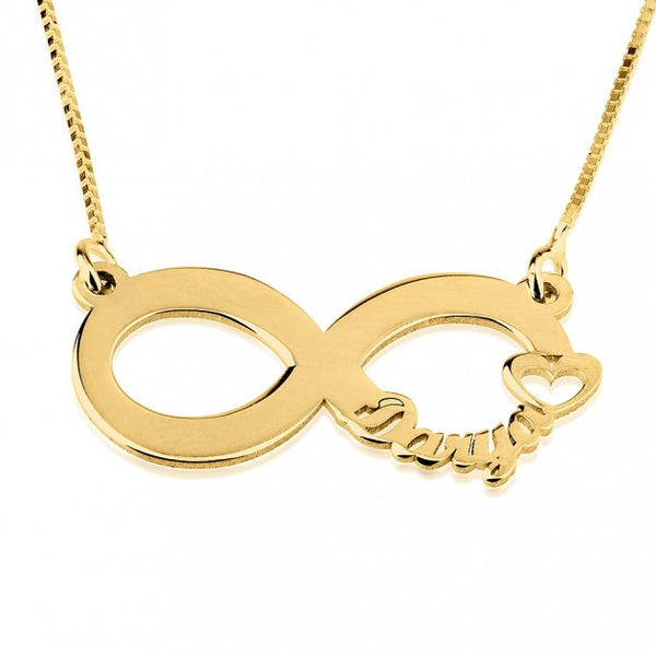 24K Gold Plated Cut Out Name Infinity Necklace - jeweleen - 1