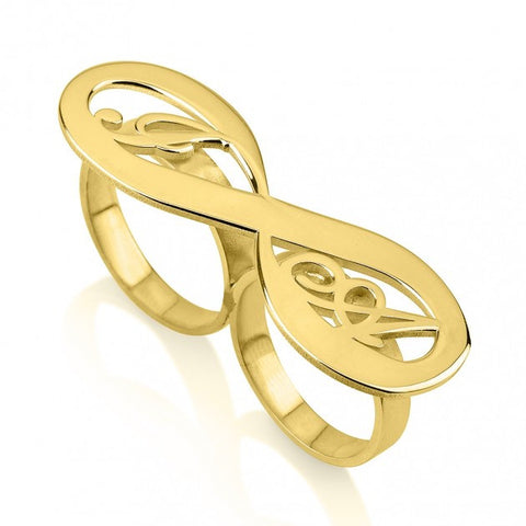 24K Gold Plated Two Initial Infinity Ring - jeweleen