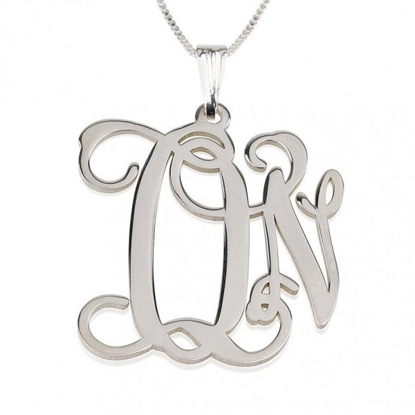 Sterling Silver Curly Two Initials Large - Small Monogram Necklace - jeweleen - 1