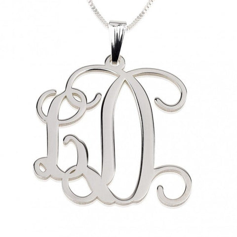 Sterling Silver Curly Two Initials Small-Large Monogram Necklace - jeweleen - 1
