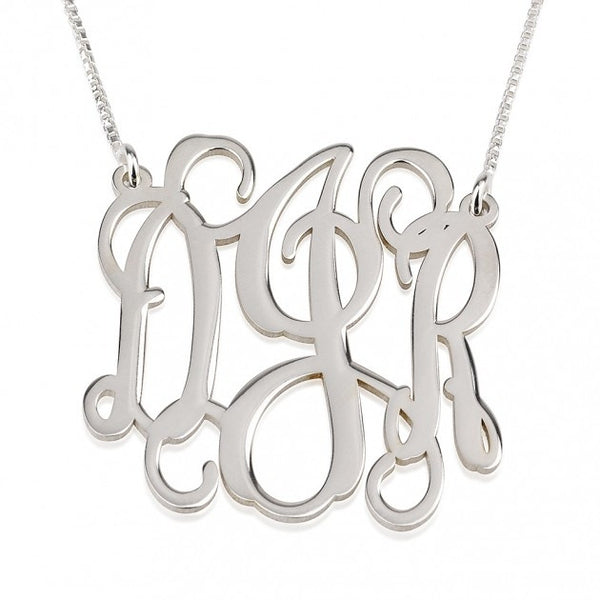Sterling Silver Curly Split Chain Monogram Necklace - jeweleen - 1