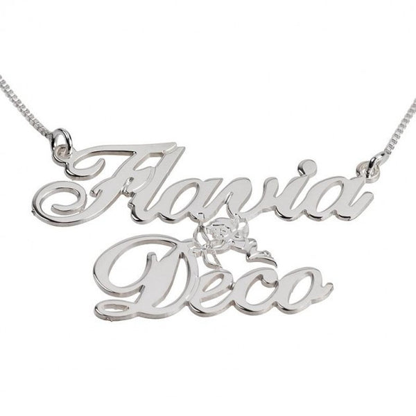 Two Alegro Name Necklace with Cupid - jeweleen - 1