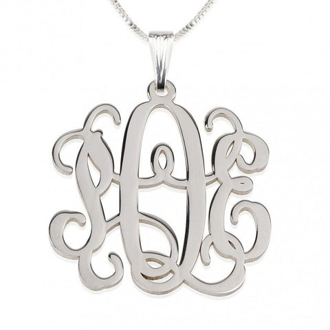 Sterling Silver Curly Monogram Necklace - jeweleen - 1