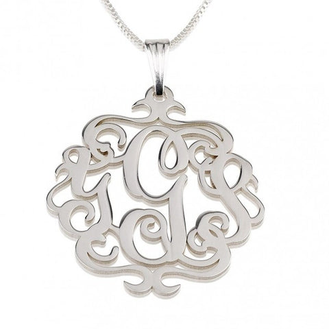 Sterling Silver Swirly Monogram Necklace - jeweleen - 1