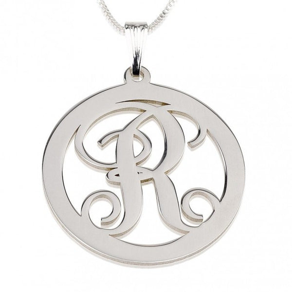 Sterling Silver Circle Initial Necklace - jeweleen - 1