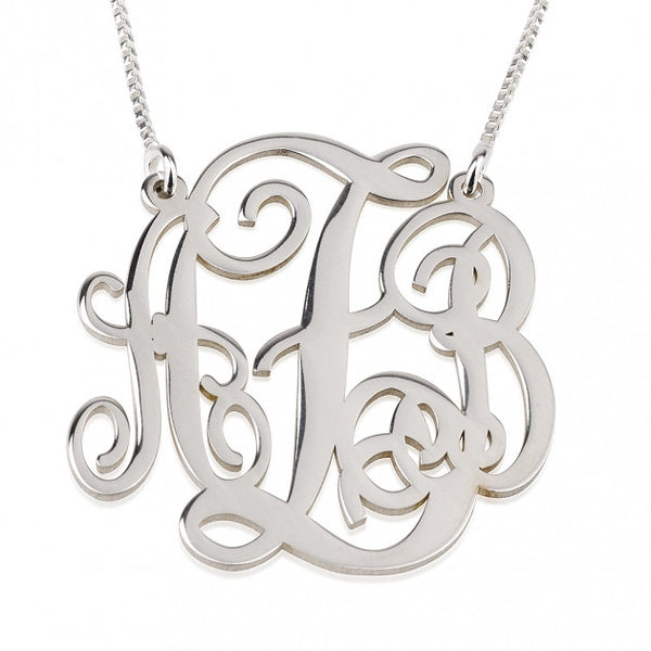 Sterling Silver Split Chain Monogram Necklace - jeweleen - 1