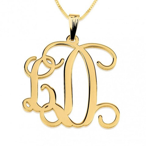 24K Gold Plated Curly Two Initials Large - Small Monogram Necklace - jeweleen - 1
