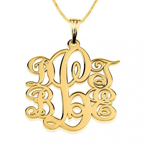 24K Gold Plated 5 Initials Monogram Necklace - jeweleen - 1