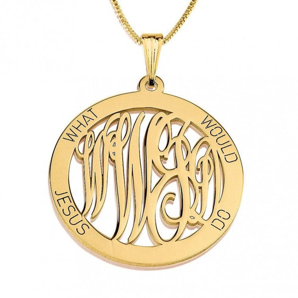 24K Gold Plated What Would Jesus Do Necklace - jeweleen - 1