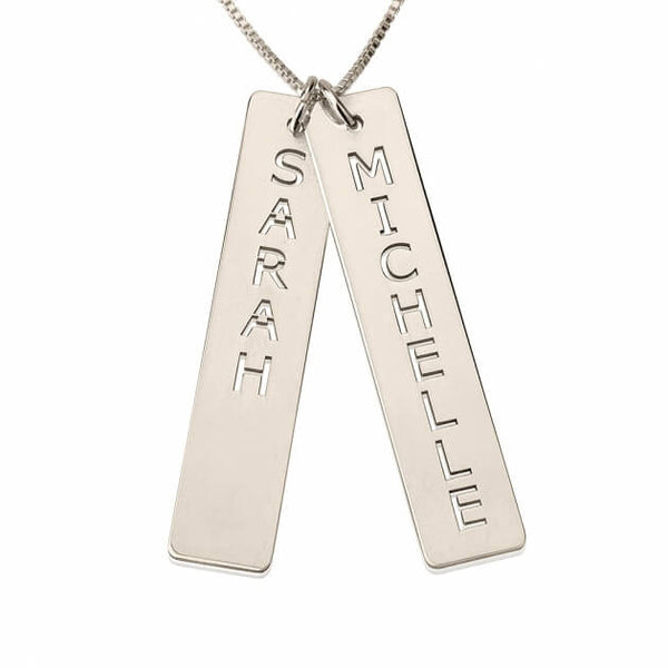 Sterling Silver Vertical Bar Necklace with Two Names - jeweleen - 1