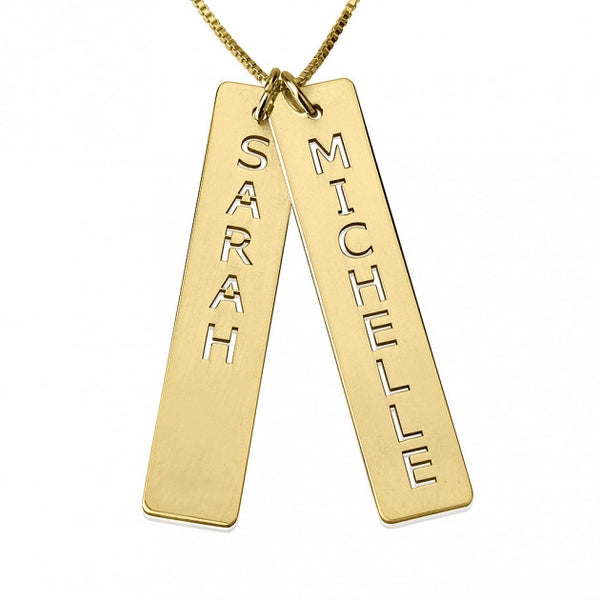 24K Gold Plated Vertical Bar Necklace with Two Names - jeweleen - 1