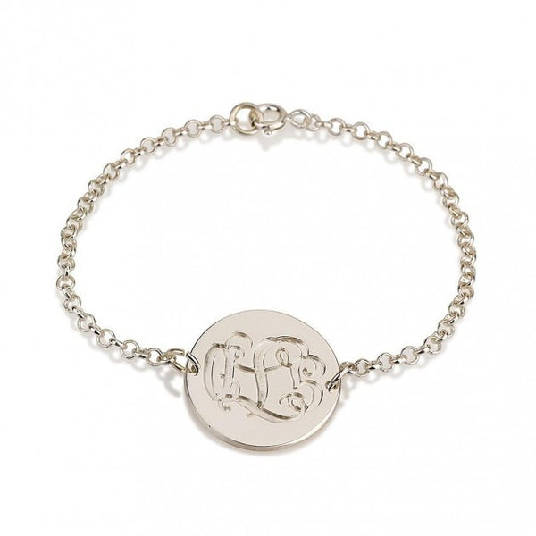 Sterling Silver Engraving Monogram Bracelet - jeweleen - 1