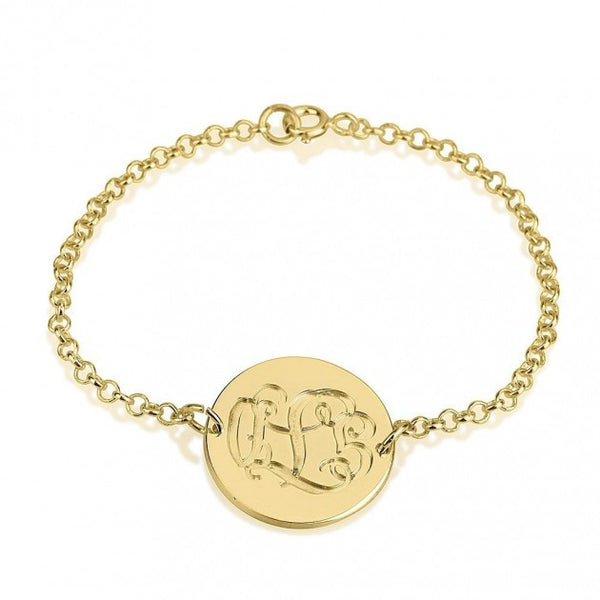 24K Gold Plated Engraving Monogram Bracelet - jeweleen - 1