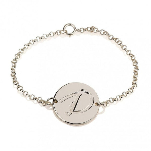 Sterling Silver Initial Bracelet - jeweleen - 1