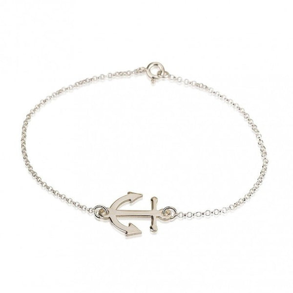 Sterling Silver Anchor Bracelet - jeweleen