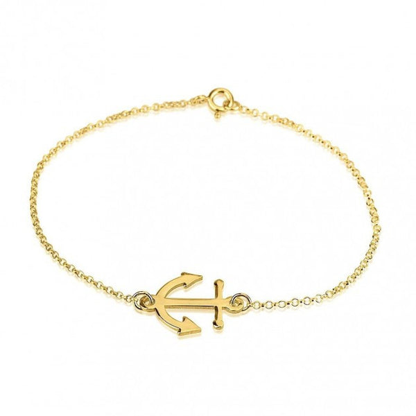 24K Gold Plated Anchor Bracelet - jeweleen - 1
