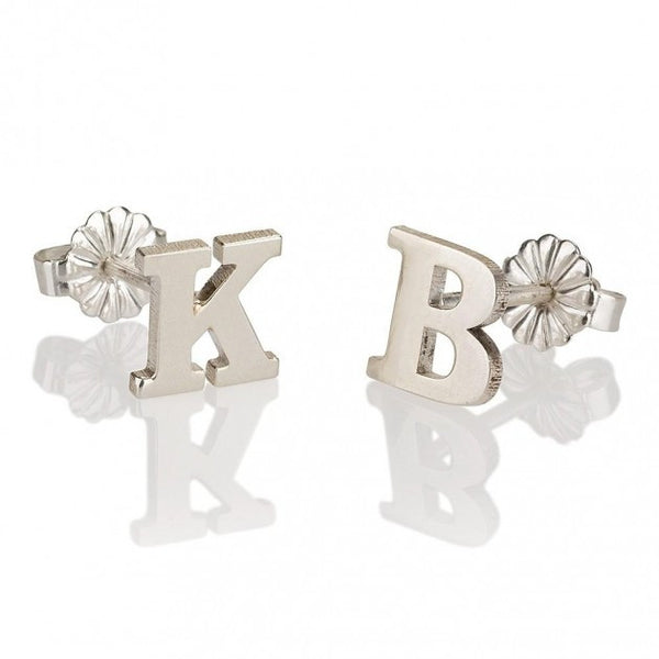 Sterling Silver Stud Letters Earrings - jeweleen