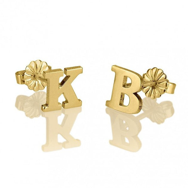 24K Gold Plated Stud Letters Earrings - jeweleen