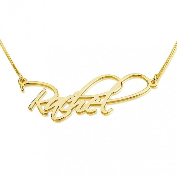 24K Gold Plated Script Name Necklace - jeweleen - 1
