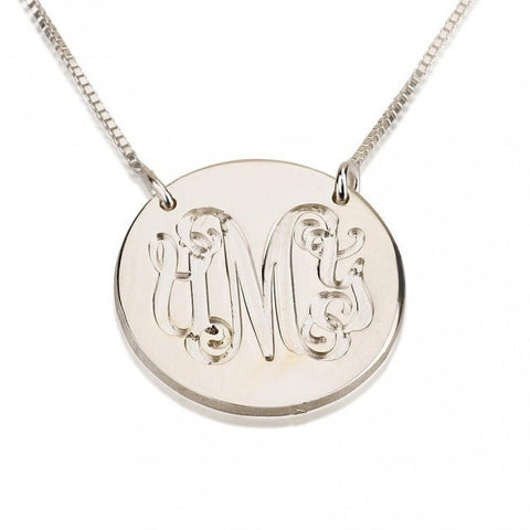 Sterling Silver Medallion Monogram Necklace - jeweleen - 1