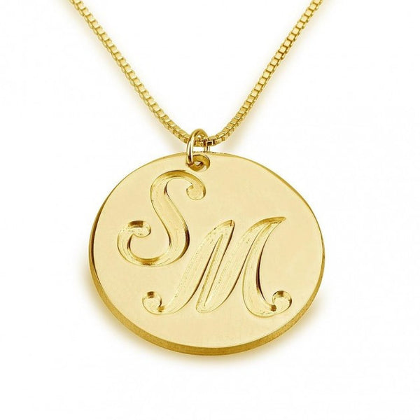 24k Gold Plated Medallion Initials Necklace - jeweleen - 1