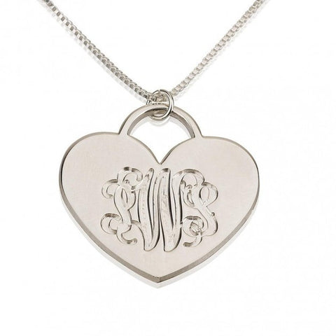 Sterling Silver Engraved Heart Monogram Necklace - jeweleen - 1
