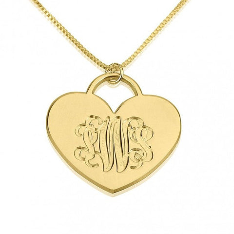 24K Gold Plated Engraved Heart Monogram Necklace - jeweleen - 1