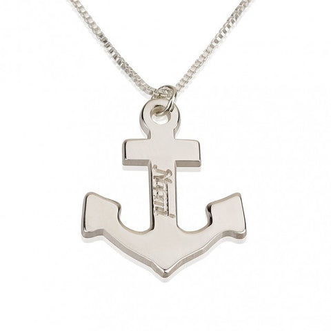 Sterling Silver Anchor Name Necklace - jeweleen