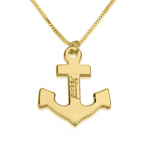 24K Gold Plated Anchor Name Necklace - jeweleen - 1