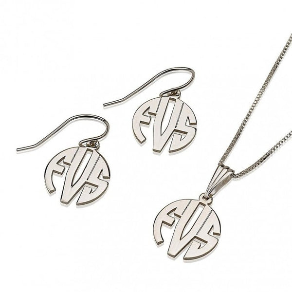Sterling Silver Capital Monogram Set - jeweleen - 1