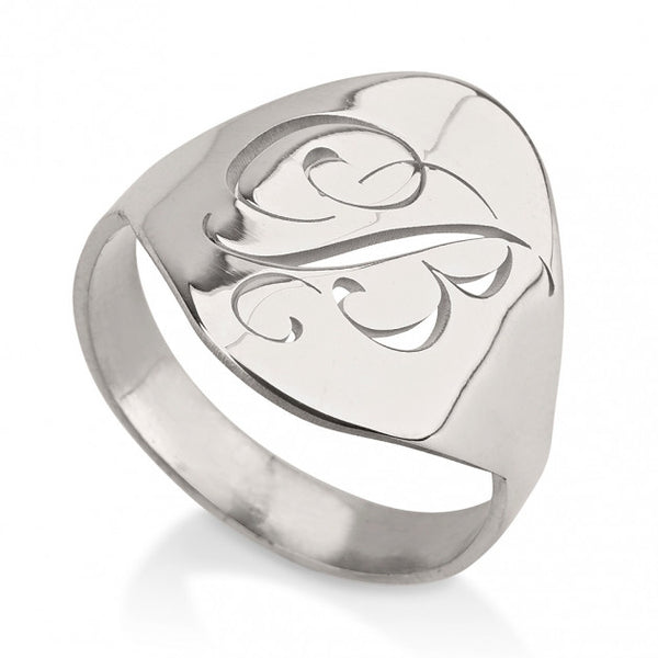 Sterling Silver Engraved Initial Ring - jeweleen