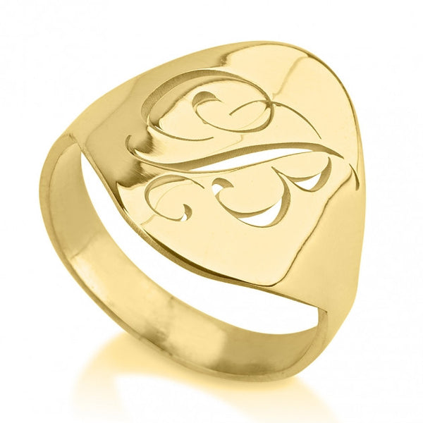 24K Gold Plated Engraved Initial Ring - jeweleen