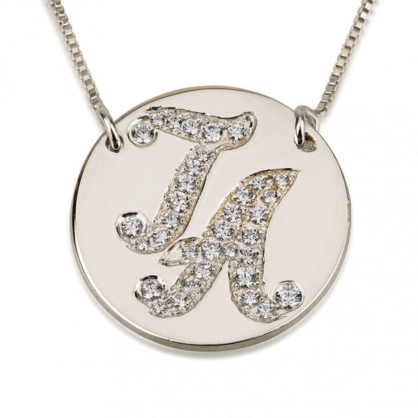 Sterling Silver Cubic Zirconia Medallion Initial Necklace - jeweleen - 1