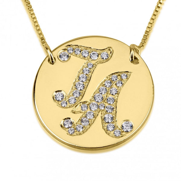 24K Gold Plated Cubic Zirconia Medallion Initial Necklace - jeweleen - 1