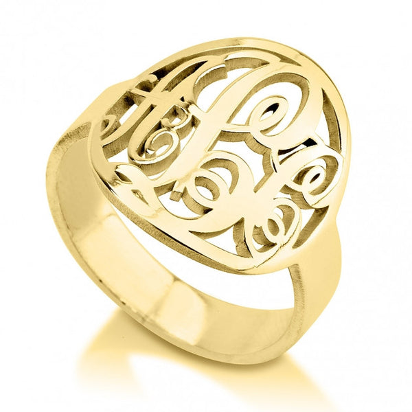 24K Gold Plated Framed Monogram Ring - jeweleen