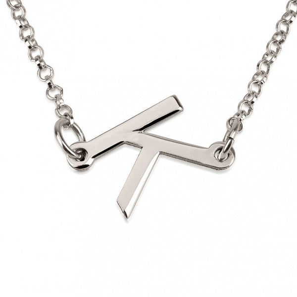 Sterling Silver Slanted Initial Letter Necklace - jeweleen - 1