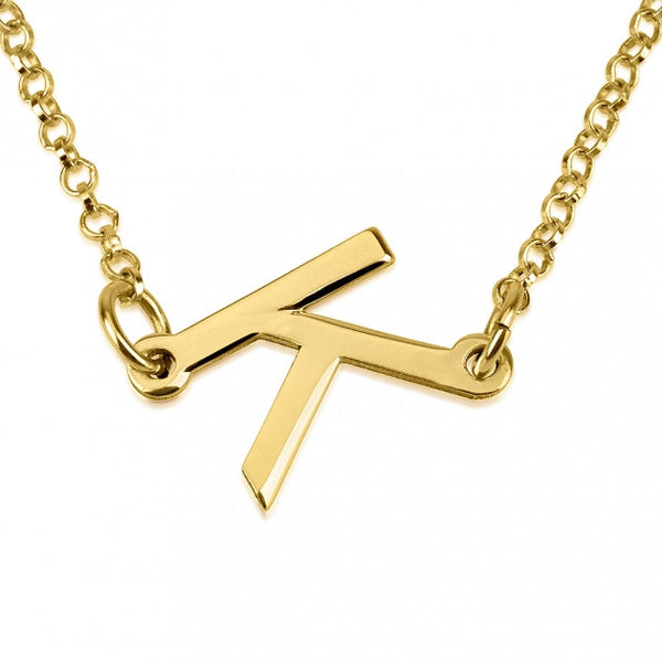 24K Gold Plated Slanted Initial Letter Necklace - jeweleen - 1
