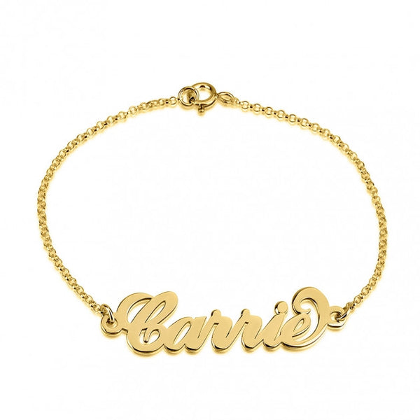 24K Gold Plated Carrie Name Bracelet - jeweleen - 1