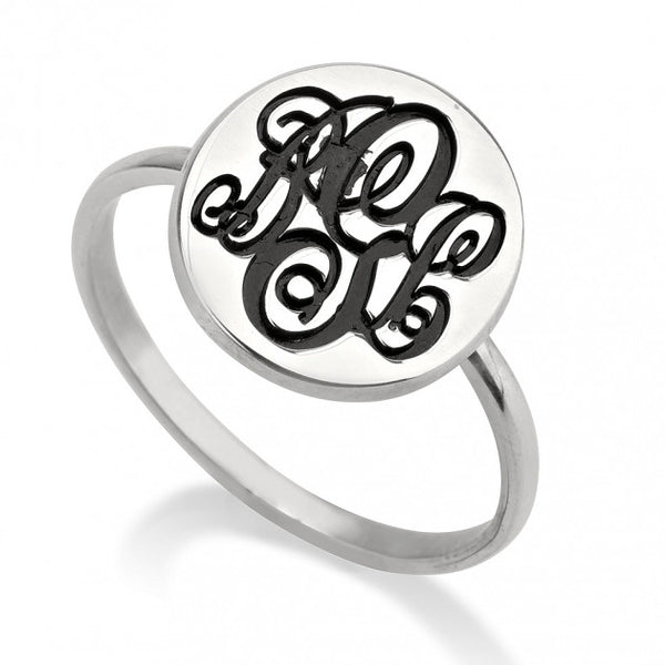 Sterling Silver Circle Monogram Ring - jeweleen