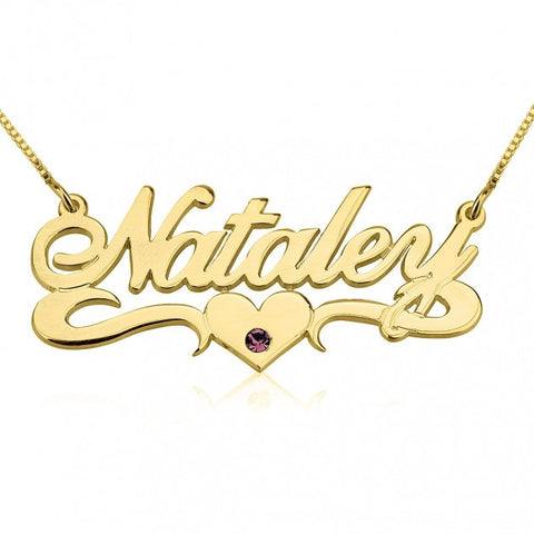 14K Gold Swarovski with Middle Heart Name Necklace - jeweleen - 1