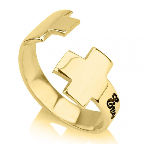 24K Gold Plated Name Loop Cross Ring - jeweleen