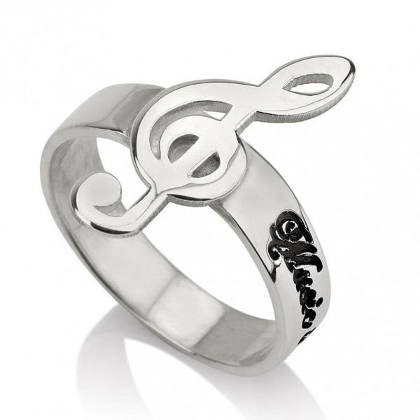 Sterling Silver Musical Note Name Ring - jeweleen